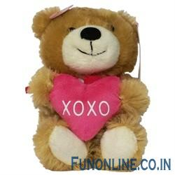 Sweetheart Bear  XOXO    This little bear can be squeezed to hear a little child say sweet phrases  This one is light brown and holds a heart that says  XOXO   The phrases that can be heard are    giggles   I love you so much    or  You make my heart flutter   giggles    or  Give me a kiss   kissing sound   or  You make me so happy   in a cycle